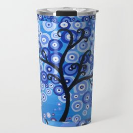 blue sea, tree of life - shades of blue with bubble leaves Travel Mug