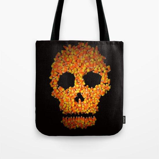 Candy Corn Skull Tote Bag