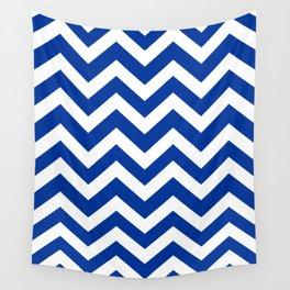Smalt (Dark powder blue) - blue color - Zigzag Chevron Pattern Wall Tapestry