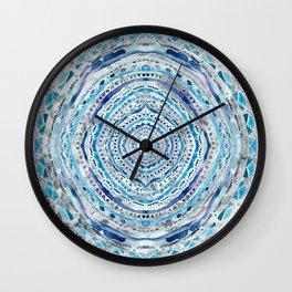 Blue & Gray Mandala Marbling Wall Clock