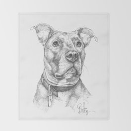 """""""Hank"""" the Rescue Blue Nose Pitbull Staffordshire Terrier Throw Blanket"""