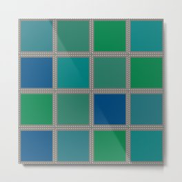 Quilt Square Stitch Style - Blues Greens Metal Print
