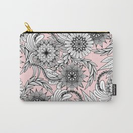 Girly Modern Pink Black White Floral Drawings Carry-All Pouch