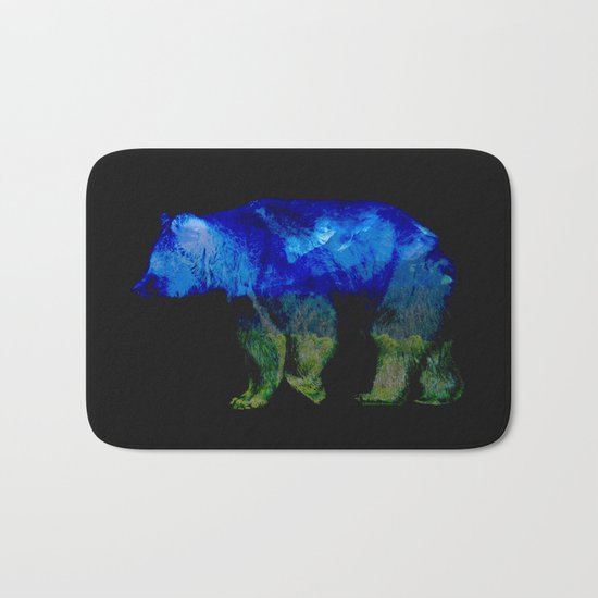 Grizzly in the Shadows Bath Mat