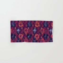 Lotus flower - fire on mulberry woodblock print style pattern Hand & Bath Towel