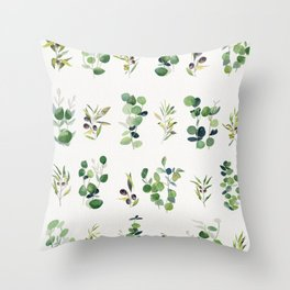 Eucalyptus and Olive Pattern 2  Throw Pillow