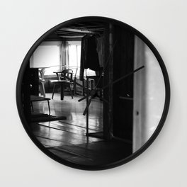 Street Photo - Vacant Home Empty Chairs - Black and White Wall Clock