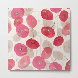 Coral Pink on White Grey Floral Pattern Metal Print
