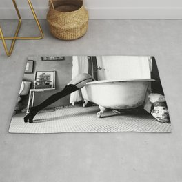 Head Over Heals - Female in Stockings in Vintage Parisian Bathtub black and white photography - photographs wall decor Rug