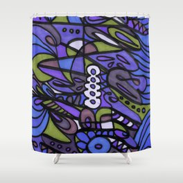 Make Art for Yourself (blue) Shower Curtain