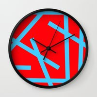 panic at the disco Wall Clocks featuring PANIC by Naked N Pieces