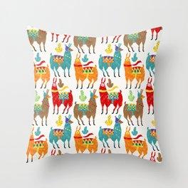 Llamas Colours Throw Pillow