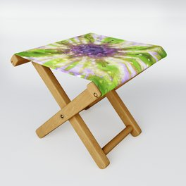 Purple Green Abstract Flower Folding Stool