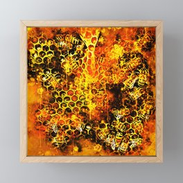 bees fill honeycombs in hive splatter watercolor Framed Mini Art Print