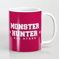monster hunter Mugs featuring Monster Hunter All Stars - The Minegarde Blazers by Bleached ink