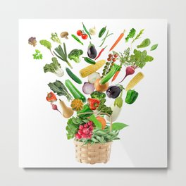 Basket of Healthy Food isolated On White Background Metal Print