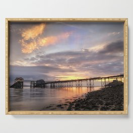 Dawn sky at Mumbles pier Serving Tray