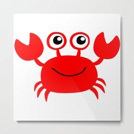 Funny red crab cartoon Metal Print