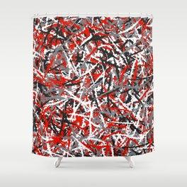 Red grunge camouflage Shower Curtain