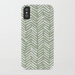 Boho Herringbone Pattern, Sage Green and White iPhone Case