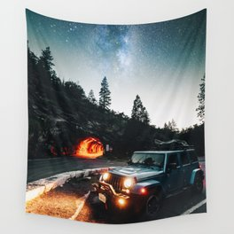 driving in the yosemite Wall Tapestry