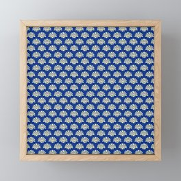Blue and yellow floral fabric pattern Framed Mini Art Print