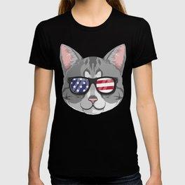 Patriotic American Shorthair Cat Kitty Merica American Flag T-shirt
