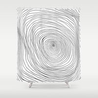 tree rings Shower Curtains featuring Spiral Rings by LacyDermy