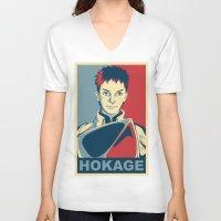 naruto V-neck T-shirts featuring Naruto - Hokage by KingSora