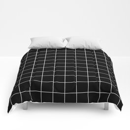 Grid Line Stripe Black and White Minimalist Geometric Comforters