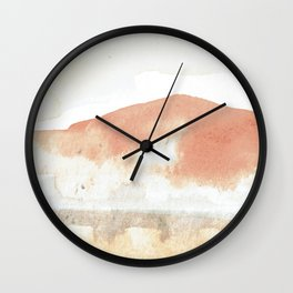 Terra Cotta Hills Abstract Desert Mountain Landsape with Watercolor Wall Clock