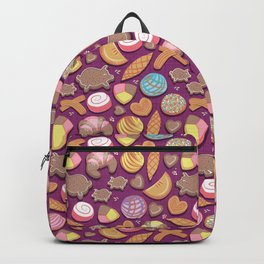 Mexican Sweet Bakery Frenzy // pink background // pastel colors pan dulce Backpack