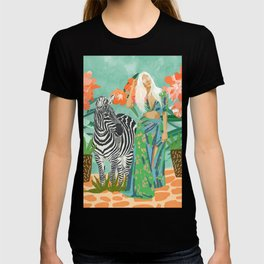 Never Change Your Stripes Illustration, Modern Bohemian Zebra Painting Wildlife Woman T-shirt
