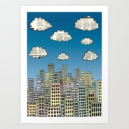 The city of paper clouds Art Print
