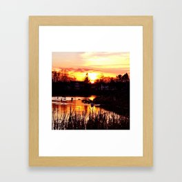 Arcade Pond at Sunset Framed Art Print