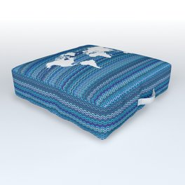 Wavy World Map Blue Outdoor Floor Cushion
