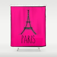 eiffel Shower Curtains featuring Eiffel by Vintage Fox