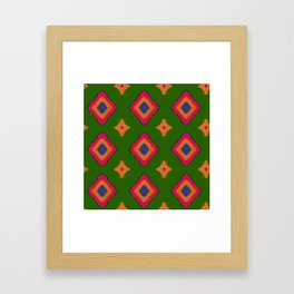 Abstract geometric pattern.Multicolored tribal rhombus pattern on green background Framed Art Print