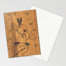 Cute little animal on wood Stationery Cards