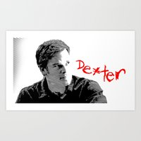 dexter Art Prints featuring Dexter by Crazy Thoom