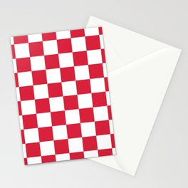 Red, Cherry: Checkered Pattern Stationery Cards