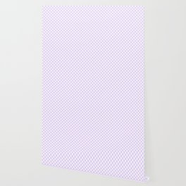 Chalky Pale Lilac Pastel Color and White Checkerboard Wallpaper