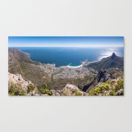 Panoramic view of Camps Bay from Table Mountain in Cape Town, South Africa Canvas Print