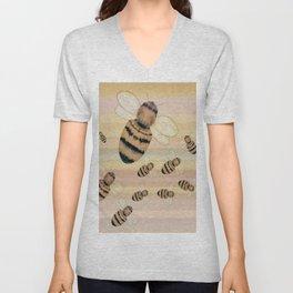 Bumblebees on rainbow backdrop Unisex V-Neck