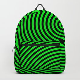 Concentric Circles in Black and Neon Green Backpack