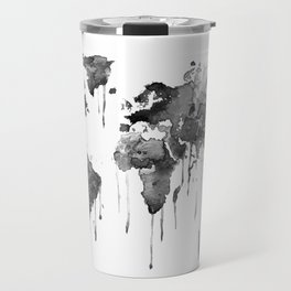 World map 2, black and white Travel Mug