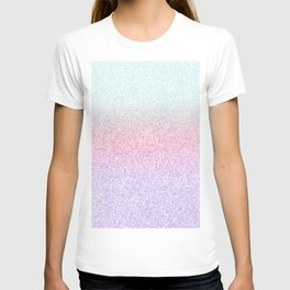 Colorful Purple, Pink and Green Watercolor Trendy Glitter Mermaid Pastel Iridescent T-shirt