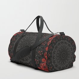Red and Black Bohemian Mandala Design Duffle Bag