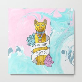 Cats Egypt Pyramid Gold Kitten Pets tabby tumblr gold typography kawaii meow print Metal Print