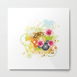 Golden disco ball with pink hibiscus Metal Print